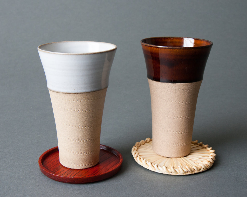 Sedge coaster handmade in Japan with traditional Japanese teacup