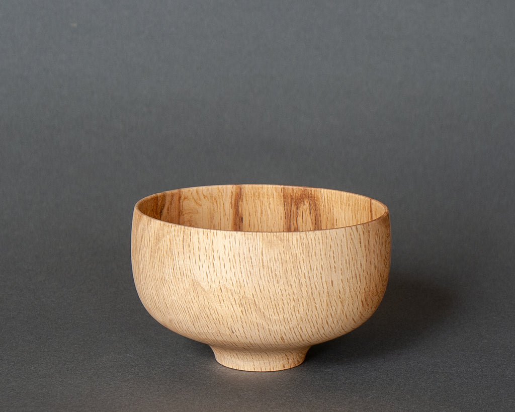 Yamanaka lacquer spalted oak rice bowl, hand-turned in Japan