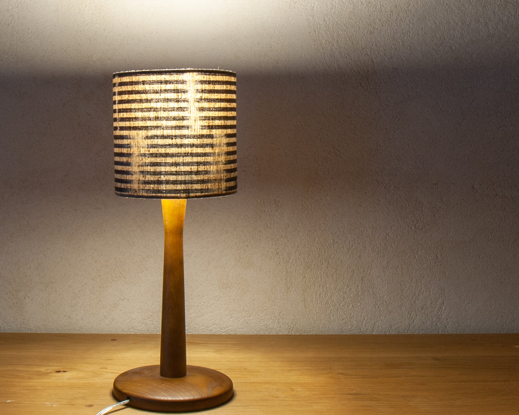 "Petite desk shade (6"" Diameter), in a subtle Japanese indigo stripe (Lit)"