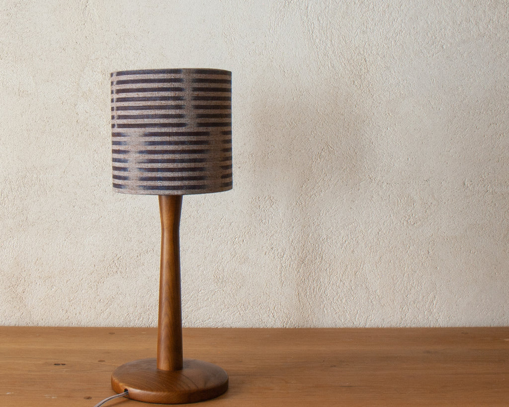 "Petite desk shade (6"" Diameter), in a subtle Japanese indigo stripe (Unlit)"