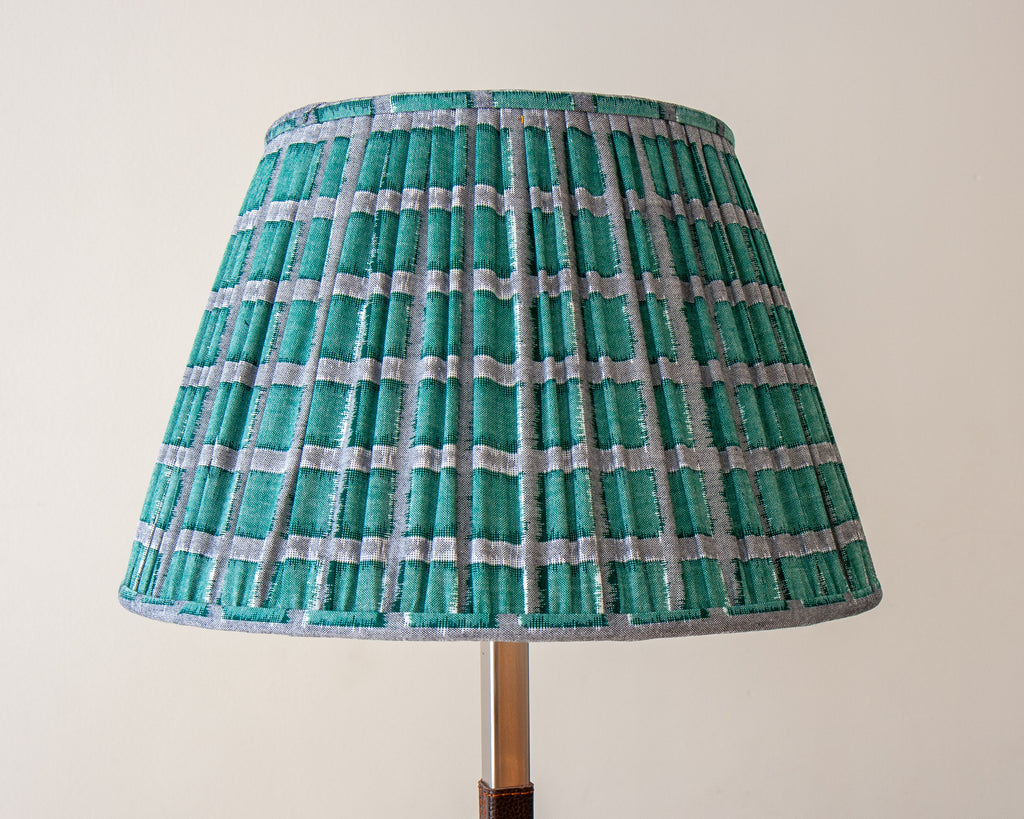 Sakata Green Squares Gathered Lampshades