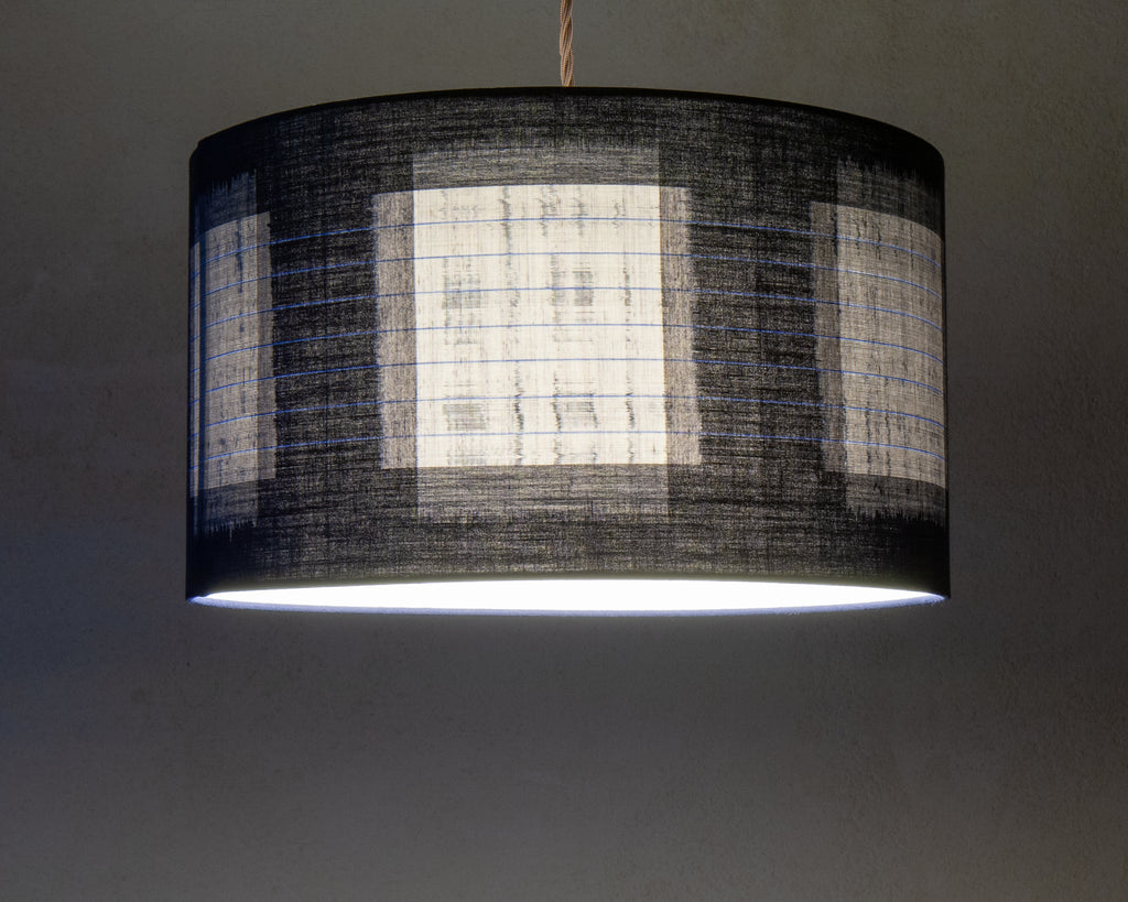 Abstract indigo kimono cloth lamp shade (Lit)