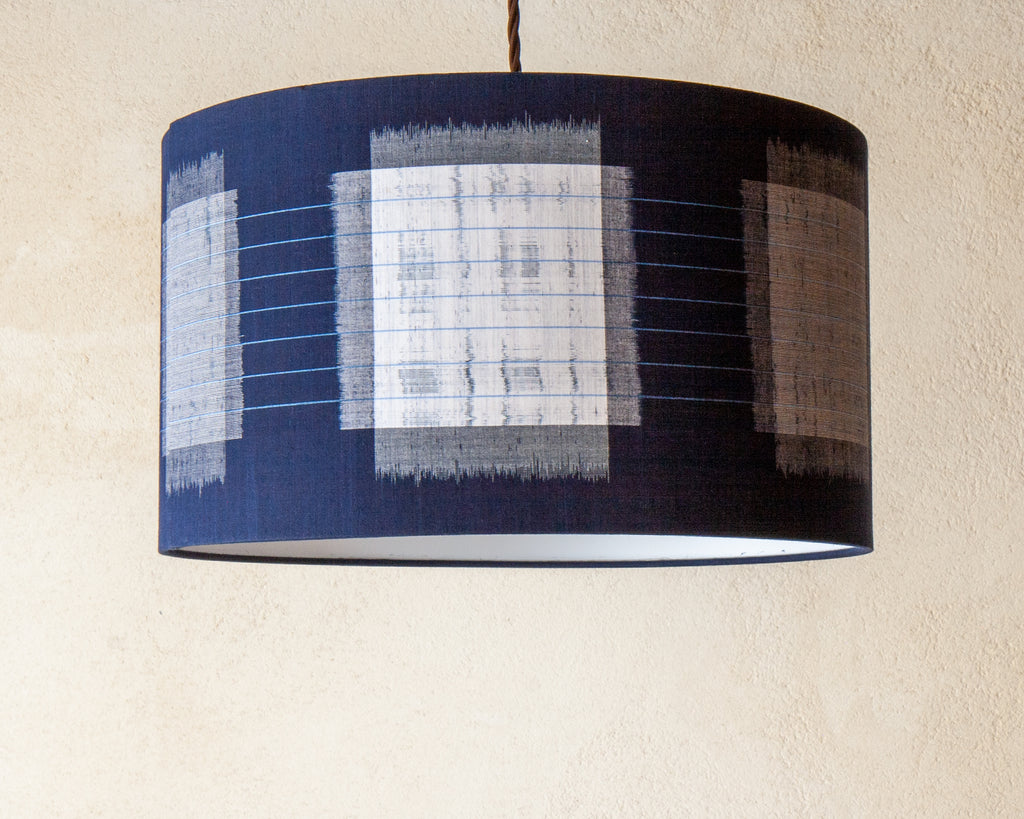 Abstract indigo kimono cloth lamp shade (Unlit)