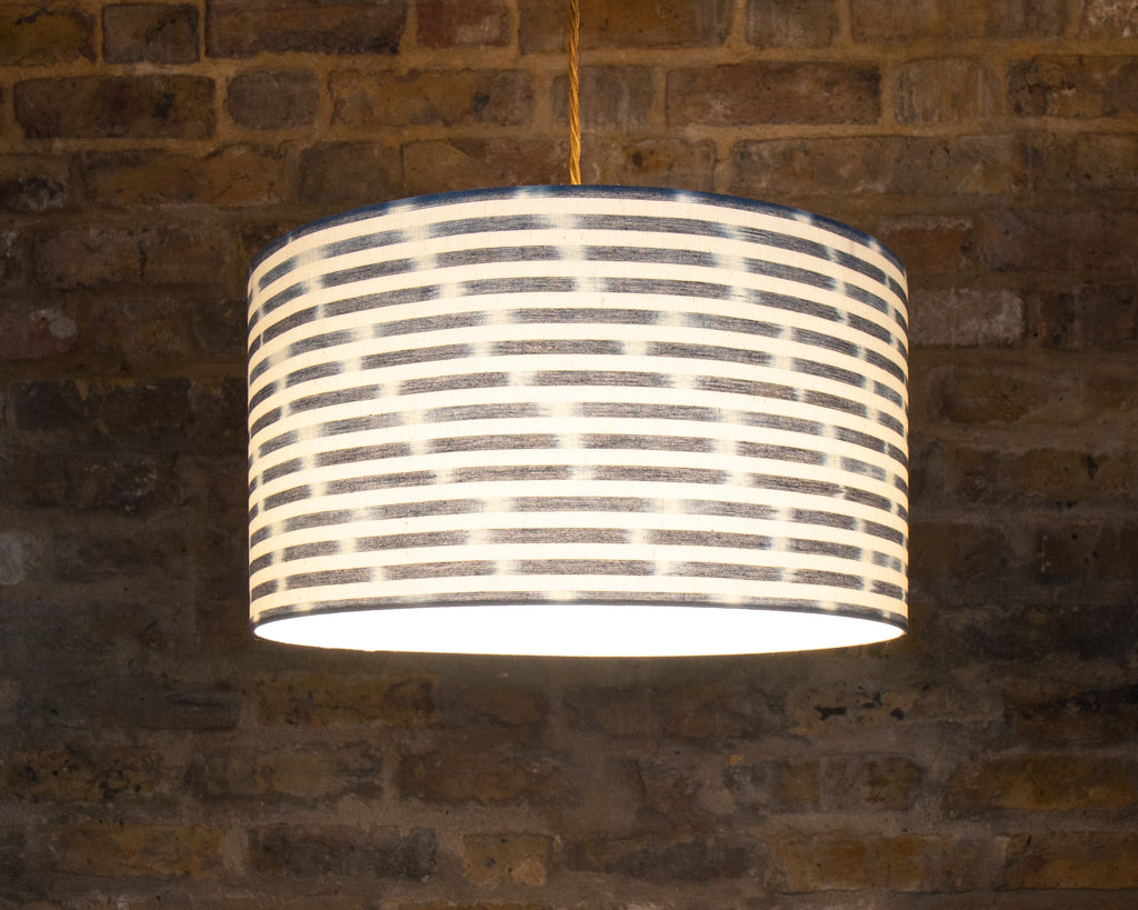 Blue and White textured Fabric ceiling light