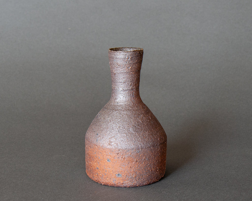 Natural clay, wood-fired, sake jug inspired handmade Japanese vase