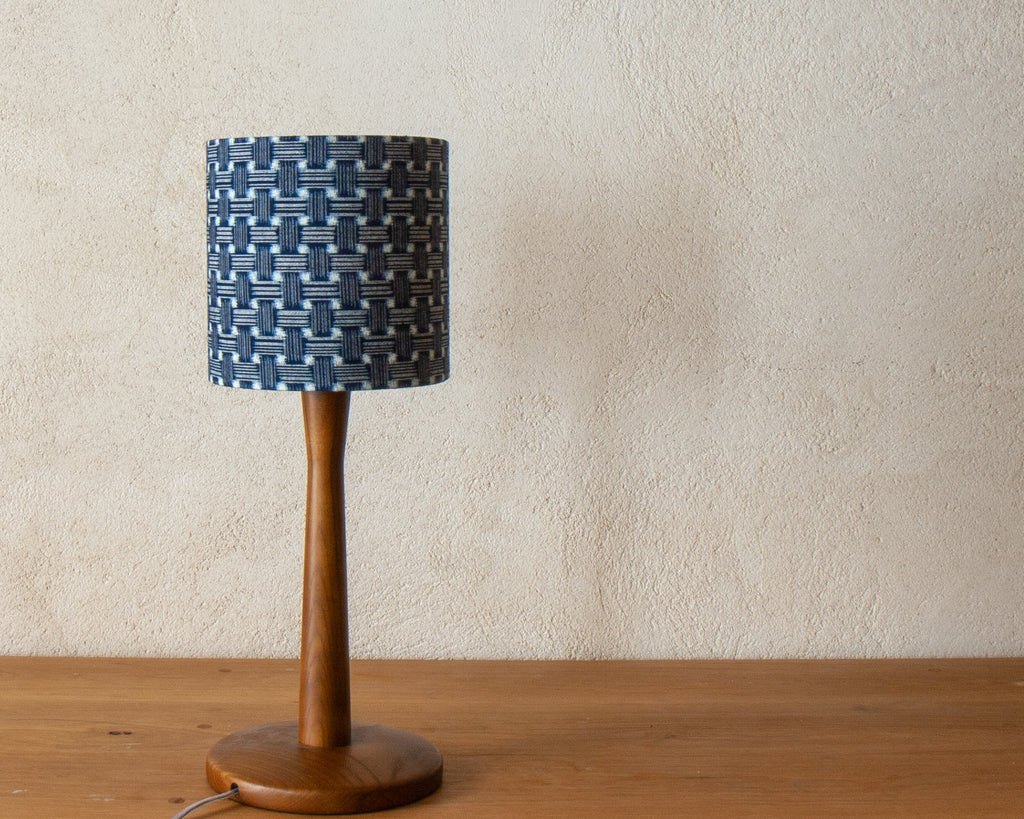 Natural indigo kimono fabric small desk light shade