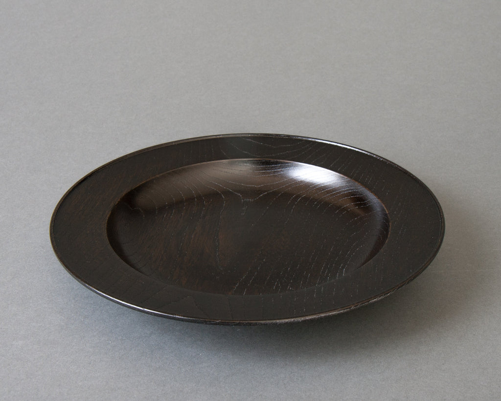 Japanese handmade black lacquered pasta bowl - side