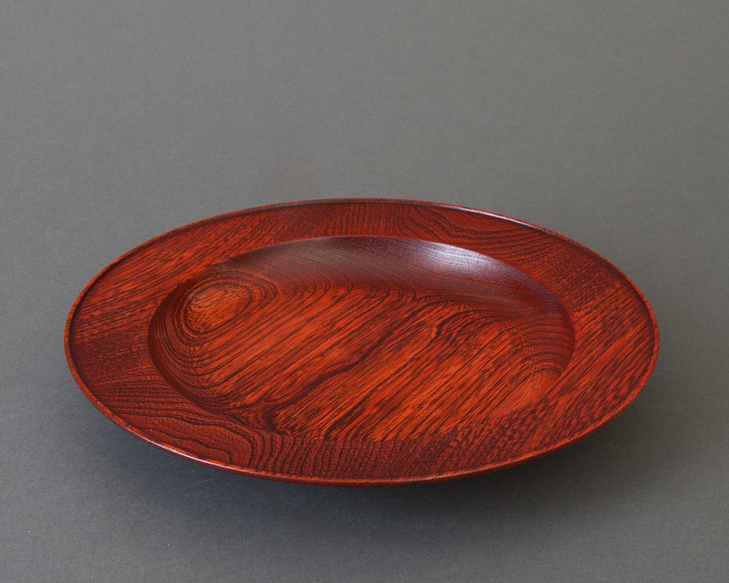 Japanese handmade red lacquered pasta bowl - side