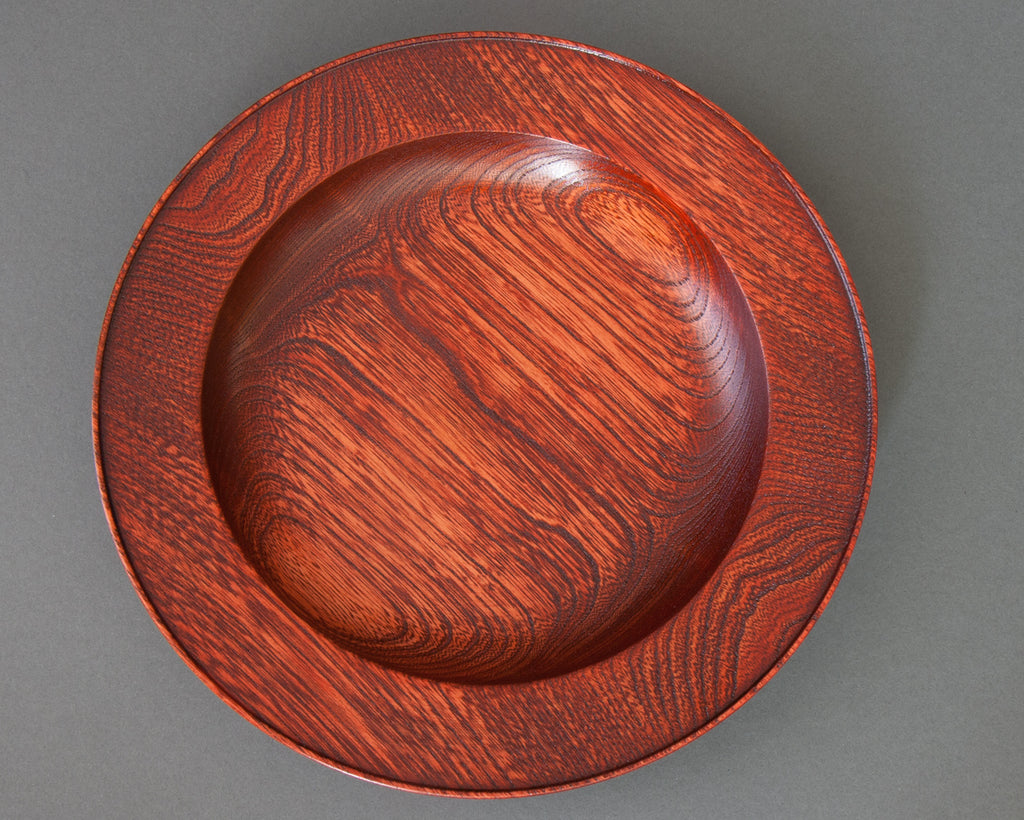 Japanese handmade red lacquered pasta bowl - top