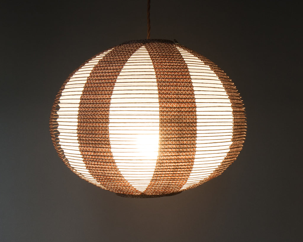 Brown double-layered Japanese paper lamp shade - side lit