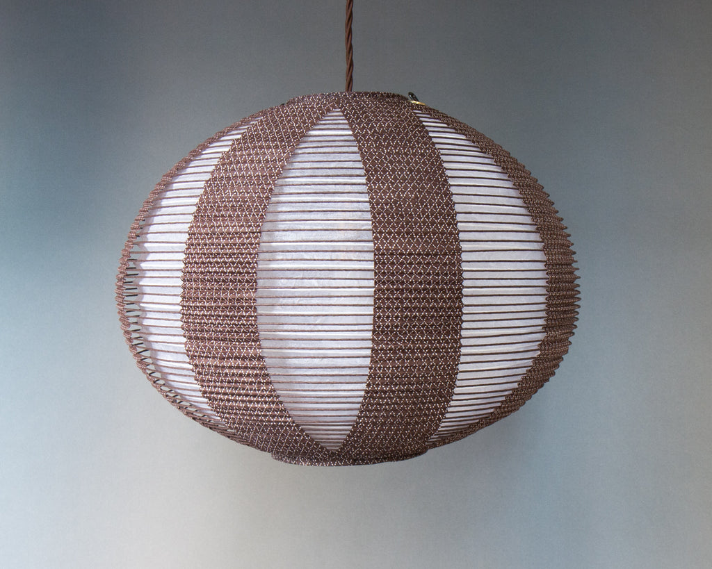 Brown double-layered Japanese paper lamp shade - side unlit