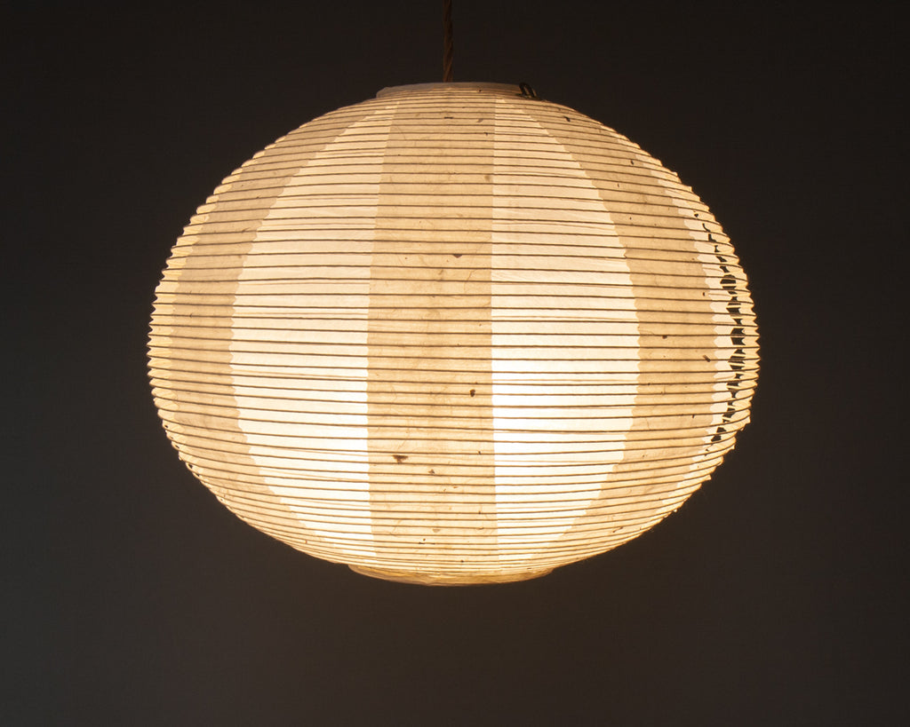 White double-layered Japanese paper lamp shade - straight lit