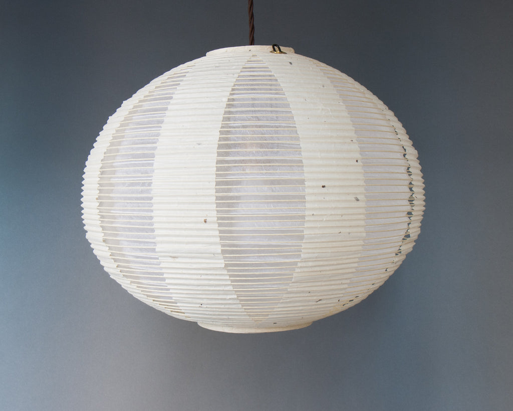 White double-layered Japanese paper lamp shade - straight unlit