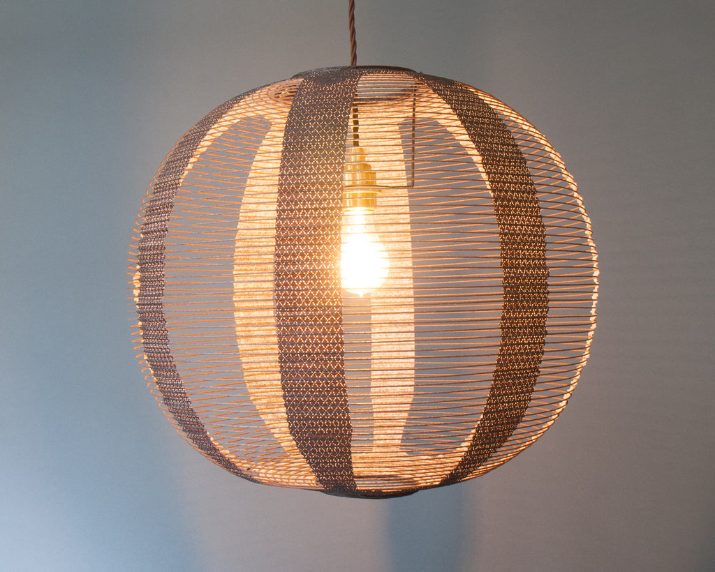 Japanese paper ceiling light - lit