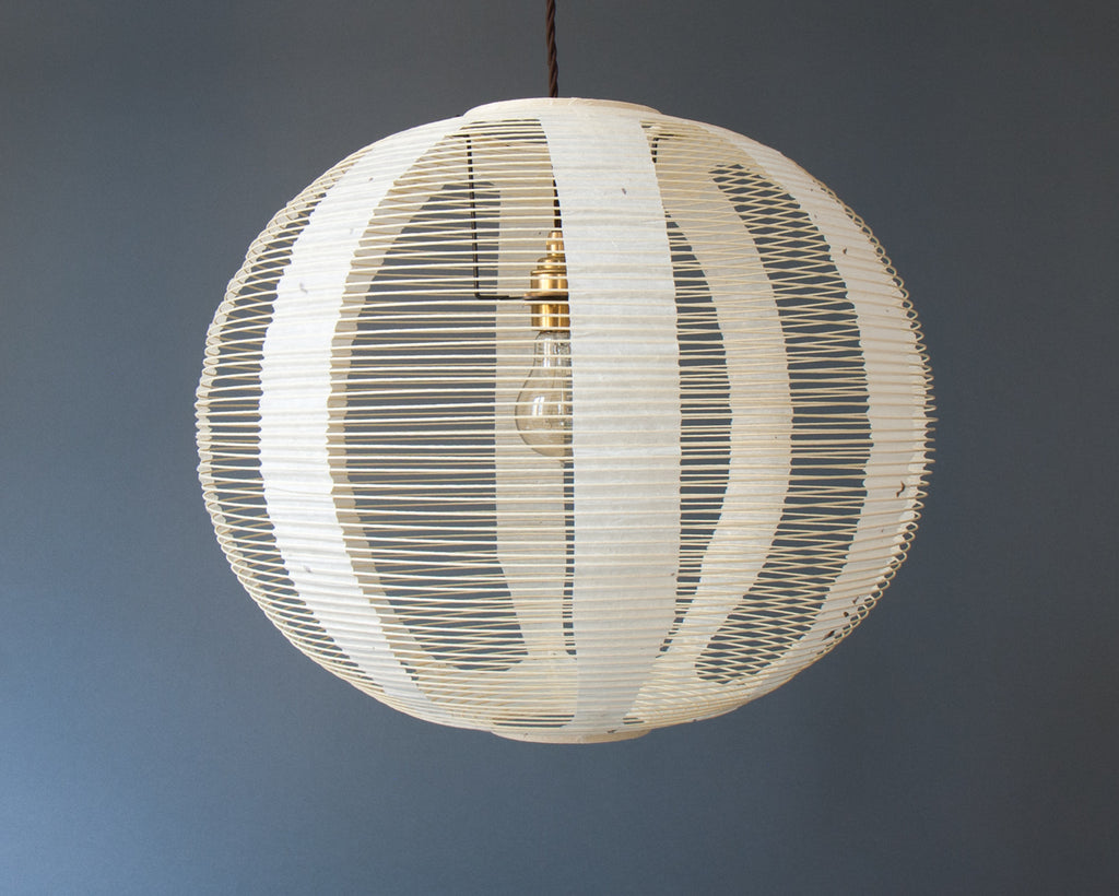 White Skashi Japanese handmade paper lamp shade - straight unlit