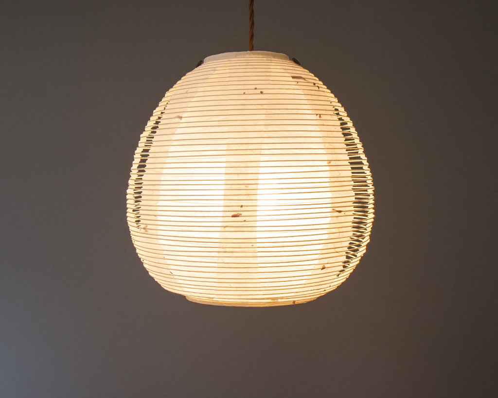 White egg-shaped double-layered Japanese paper lamp shaded Japanese paper lamp shade - straight lit