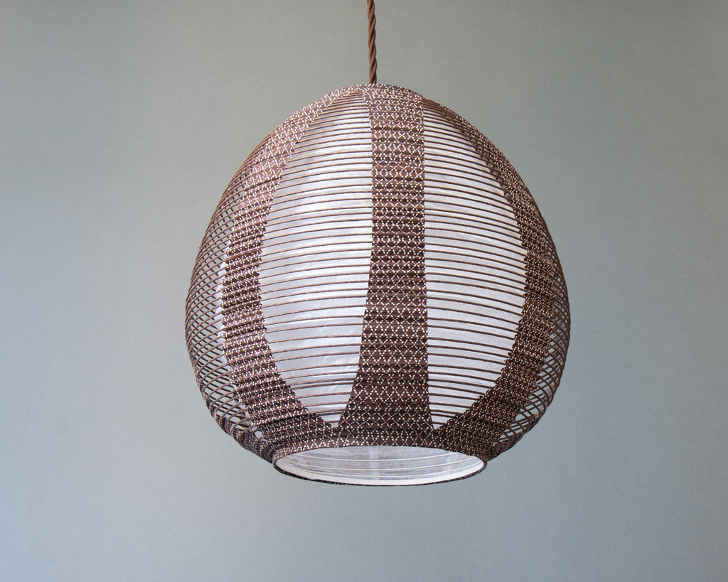 Brown egg-shaped double-layered Japanese paper lamp shade - up