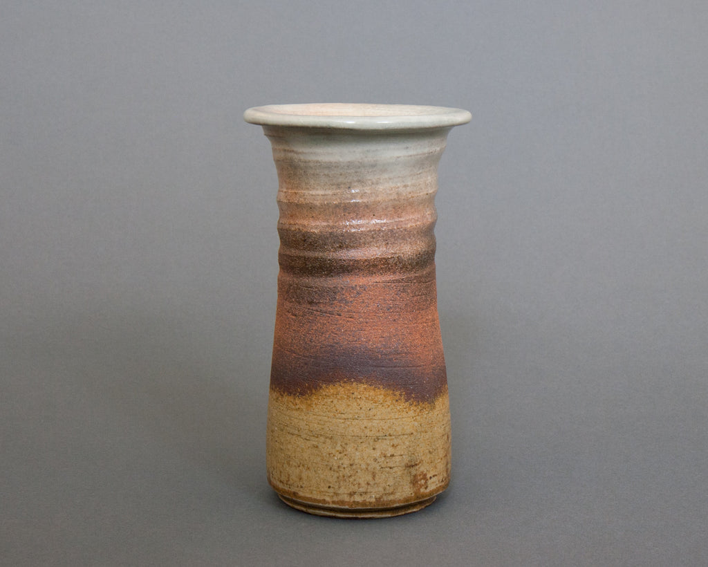 Echizen style, Japanese glazed and unglazed stoneware ceramic vase - Straight