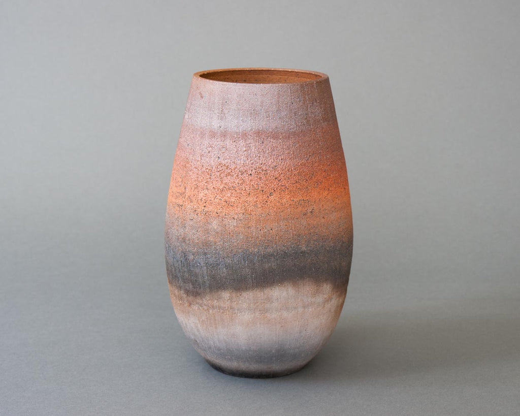 Large Japanese unglazed vase - straight