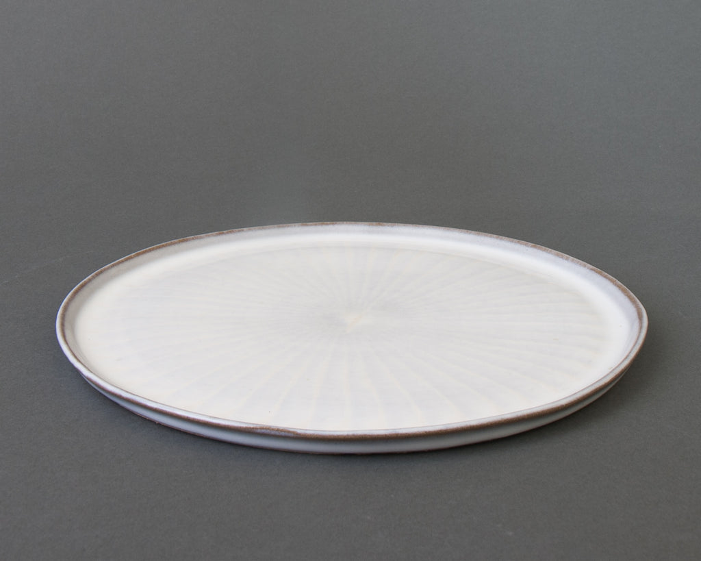White Hakeme Plate - Handmade in Japan - Side