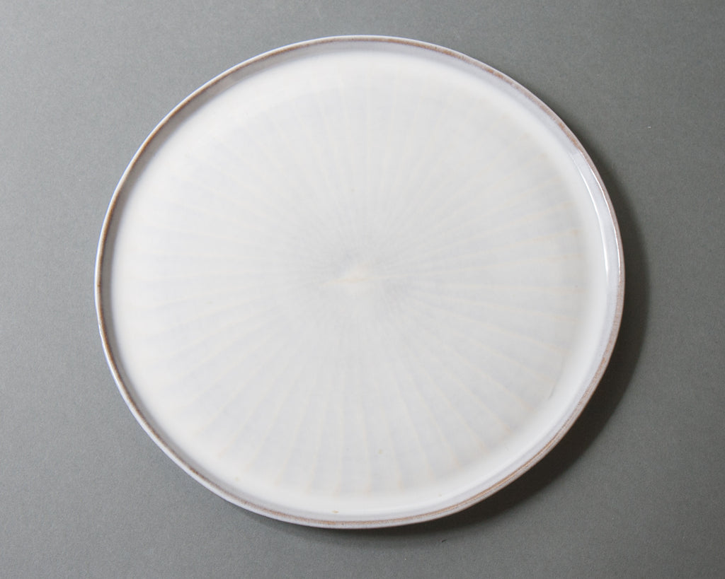 White Hakeme Plate - Handmade in Japan - Top