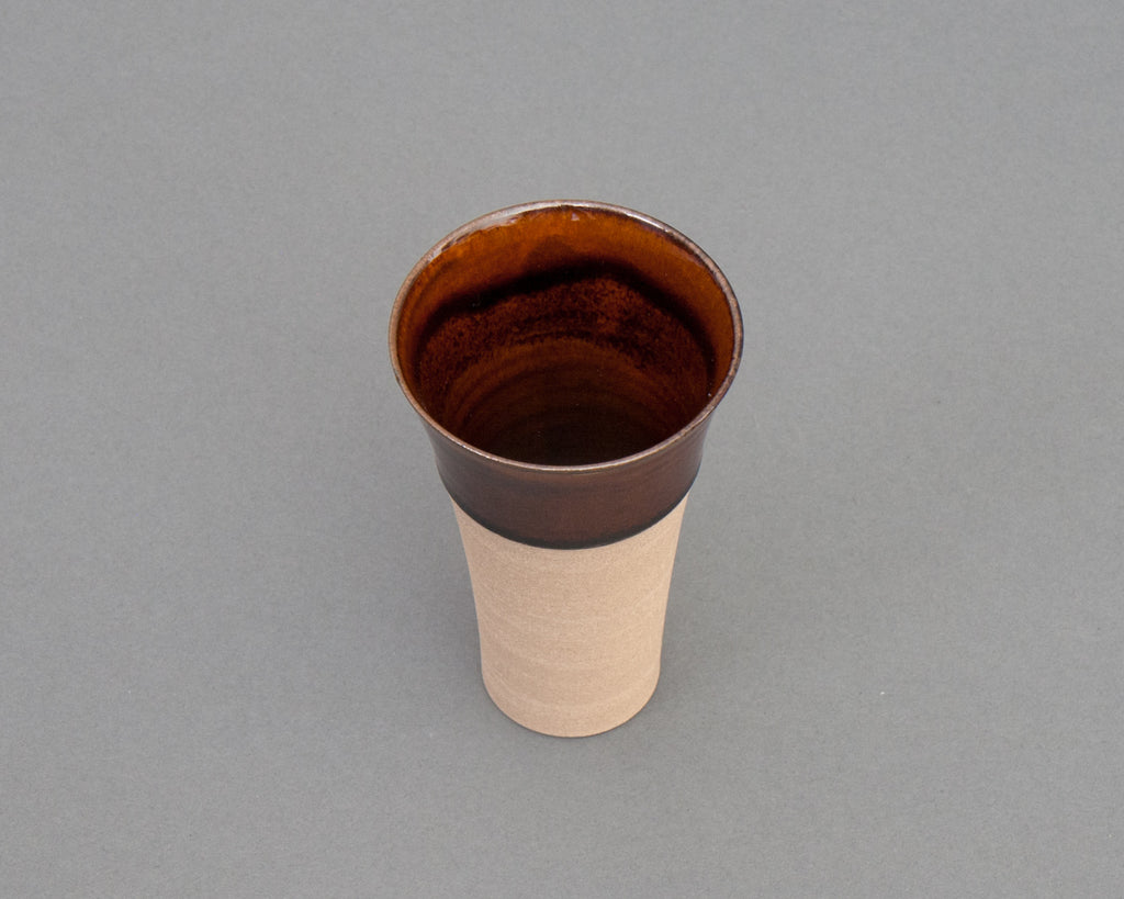 Keishugama Brown Teacup - Top