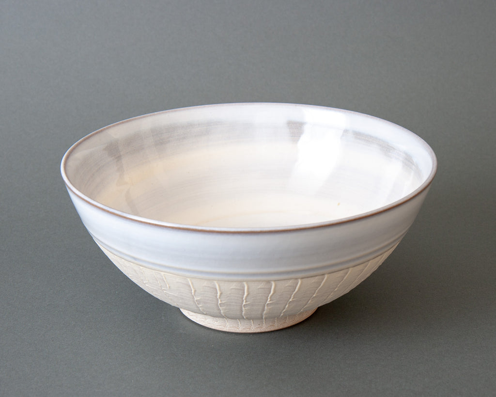 Japanese Slipware Salad Bowl - White Side