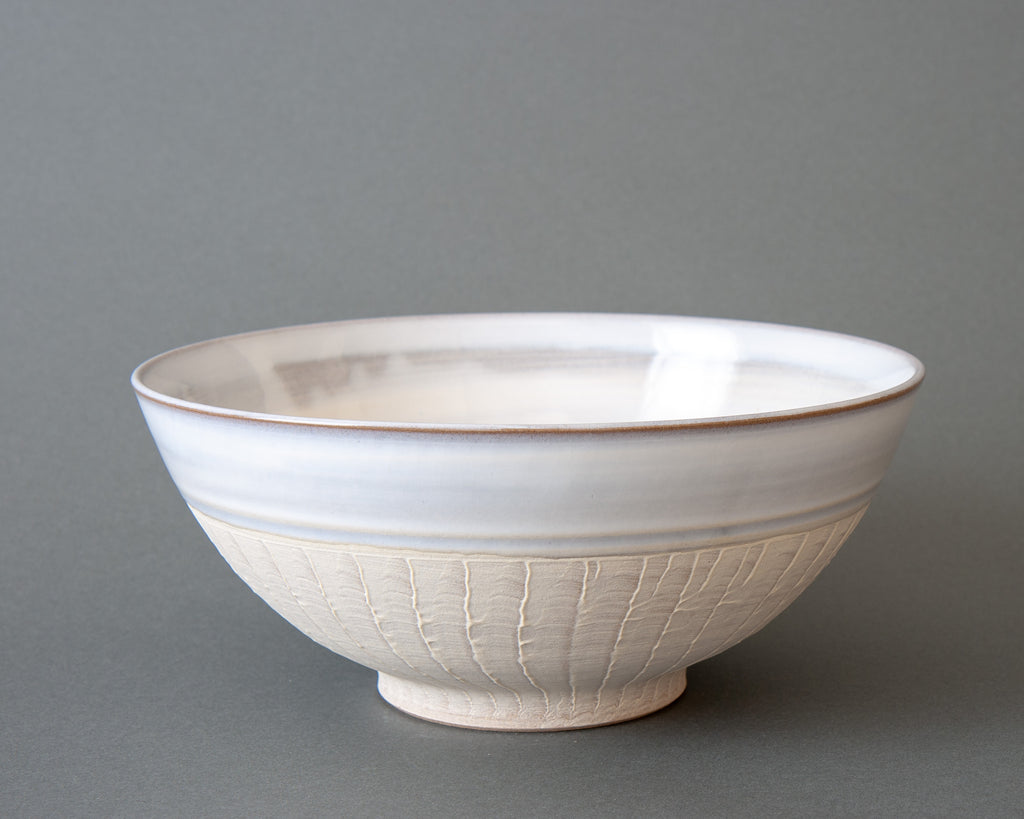 Japanese Slipware Salad Bowl - White Straight