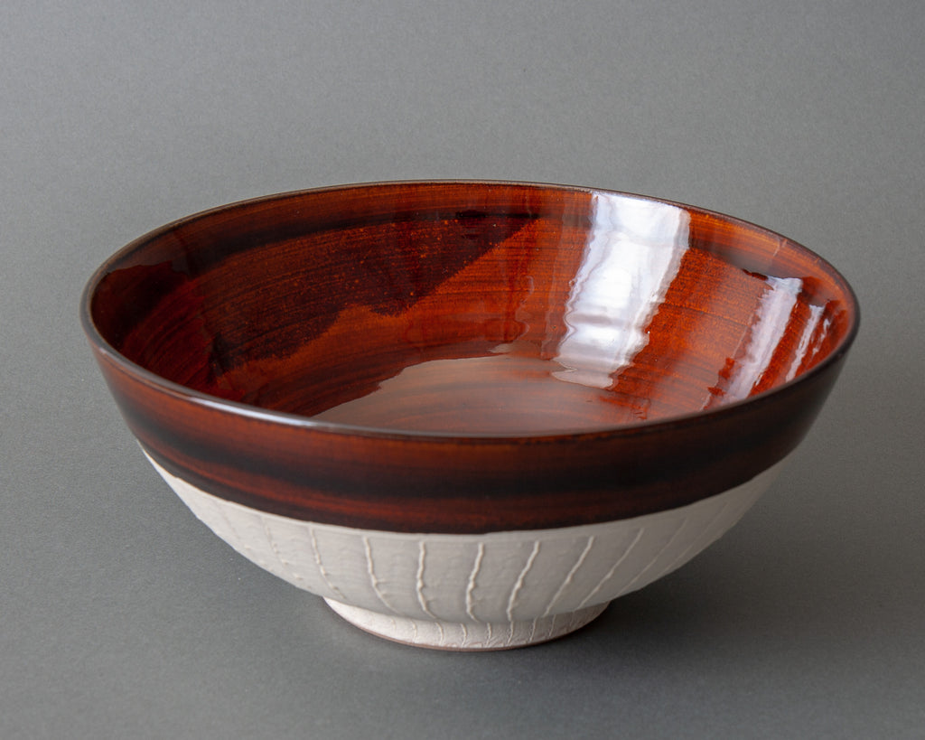 Japanese Slipware Salad Bowl - Brown Side