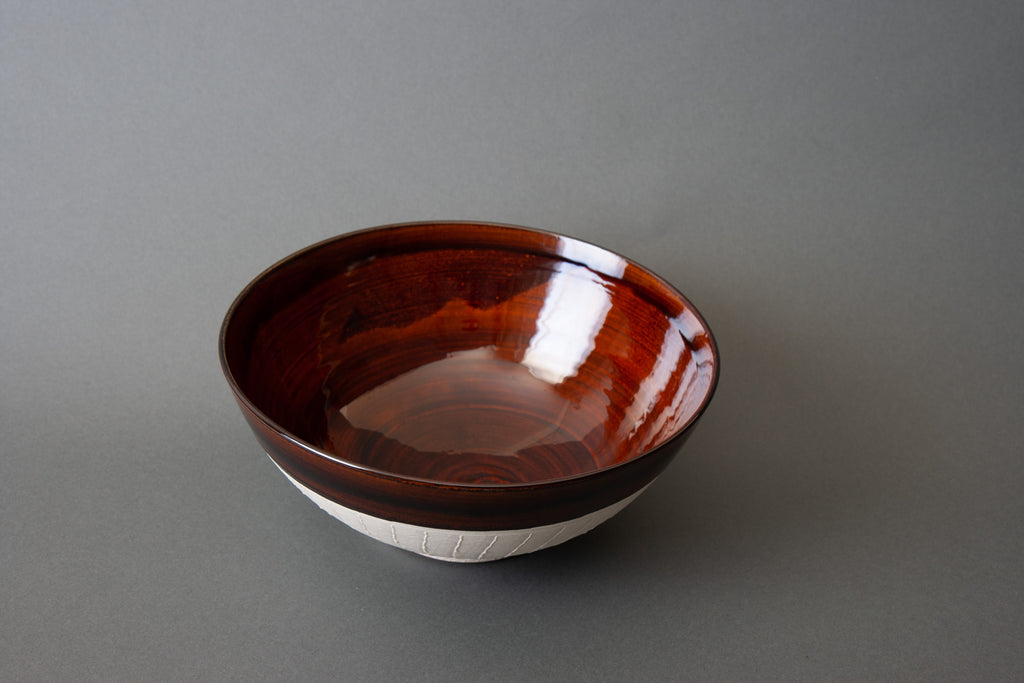 Japanese Slipware Salad Bowl - Brown Top