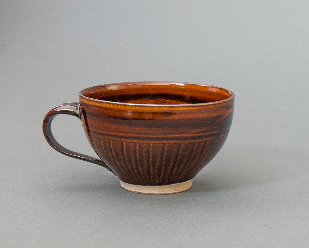 Hand-made Japanese Pottery Soup Cup - Brown
