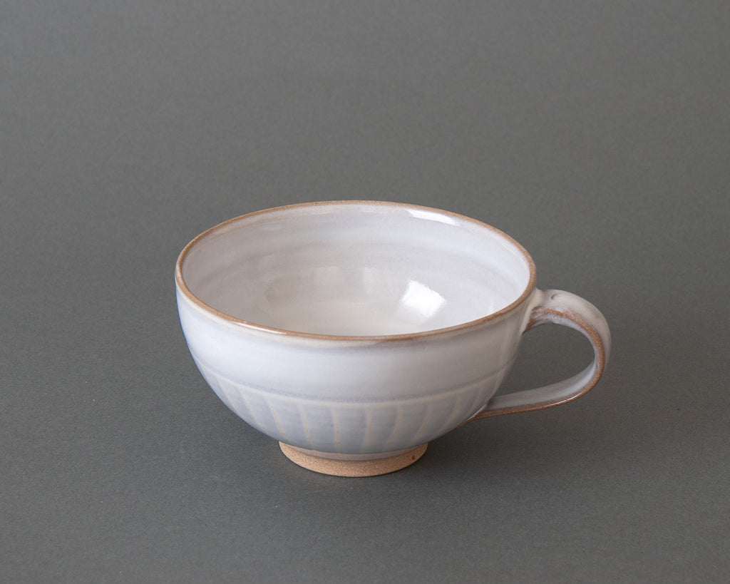 Hand-made Japanese Pottery Soup Cup - White