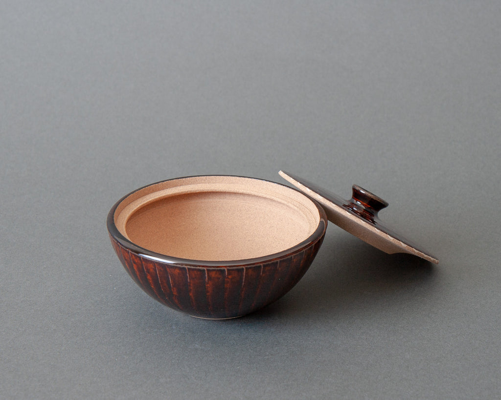 Handmade Japanese Salt Jar - Brown Open