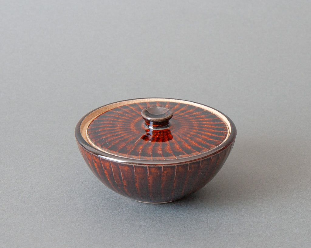 Handmade Japanese Salt Jar - Brown w Lid