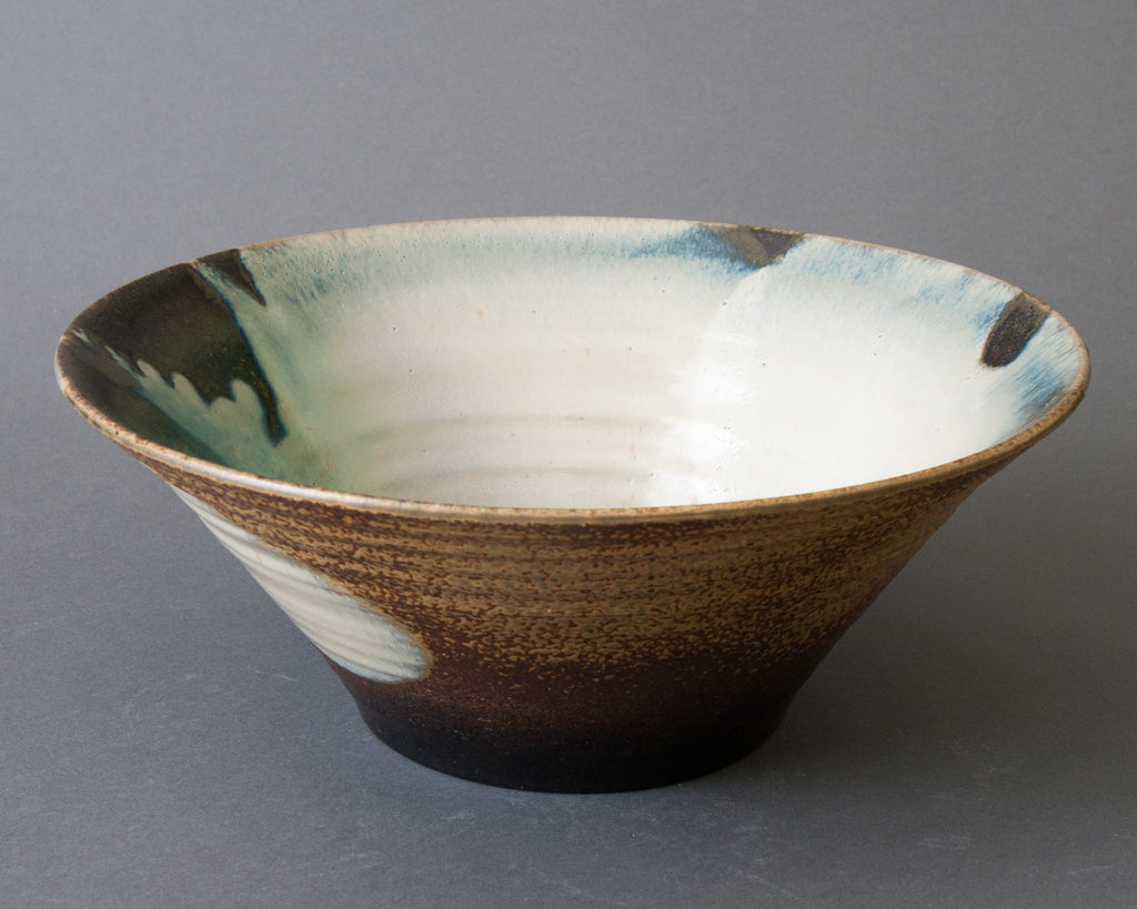 Large Oribe Salad Bowl Handmade in Japan - Side