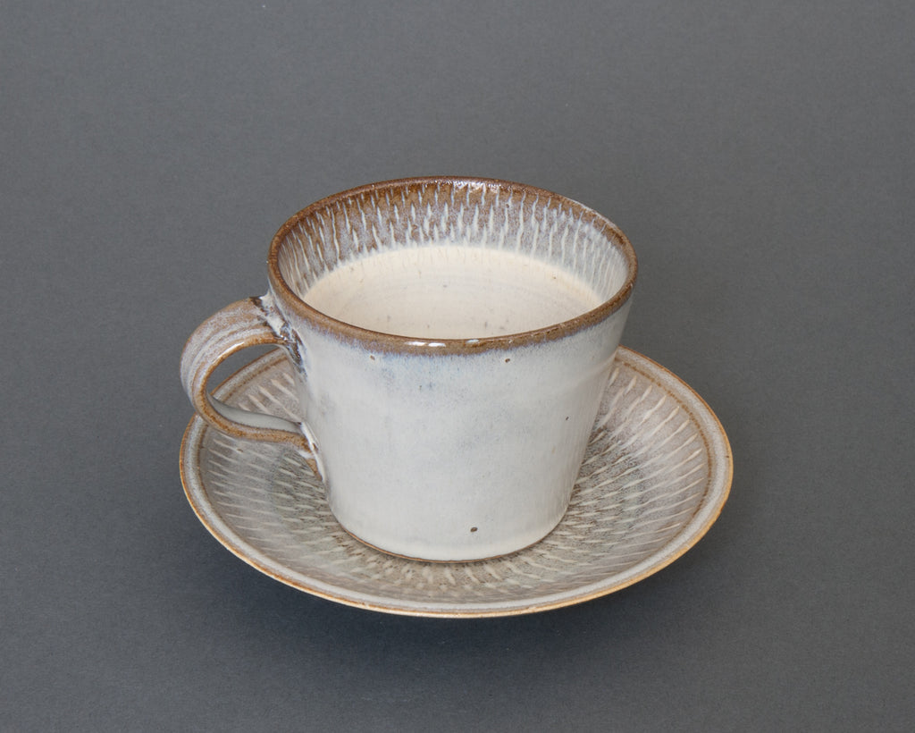 Hakuyu Saucer and Cup Handmade in Japan - Side
