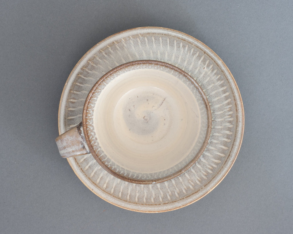Hakuyu Saucer and Cup Handmade in Japan - Top