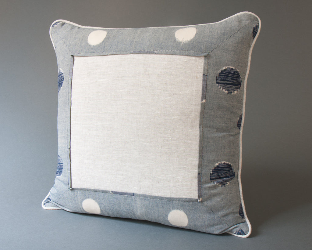 Japanese Indigo Circles Square Cushion Main