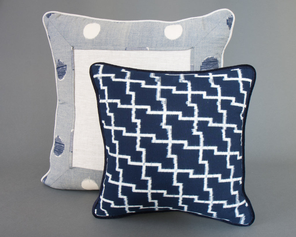 Japanese Indigo Circles Square Cushion Set