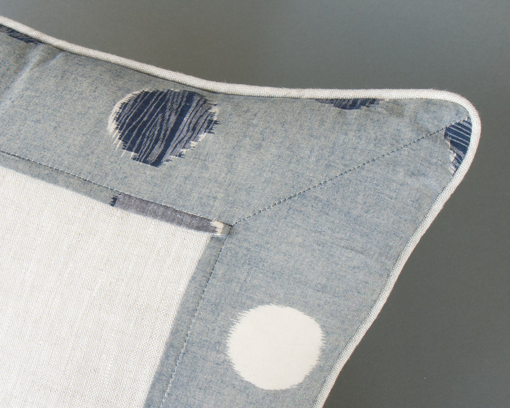 Japanese Indigo Circles Square Cushion Detail
