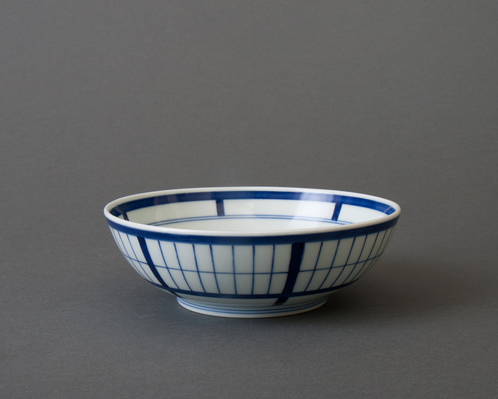Shoji pattern hand-painted cereal bowl - side