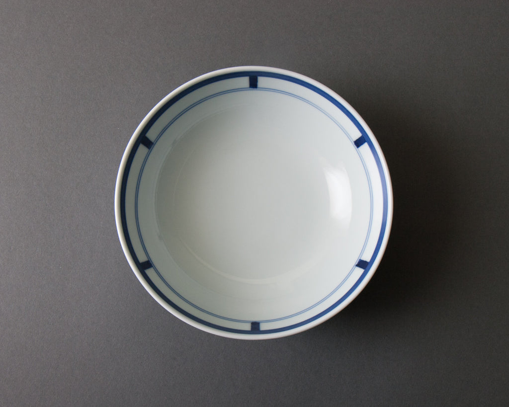 Shoji pattern hand-painted cereal bowl - top