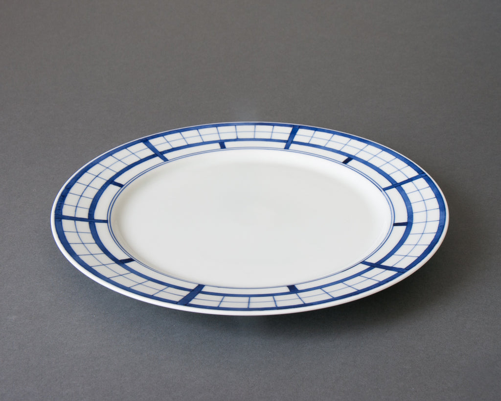 Shoji pattern hand-painted dinner plate - side
