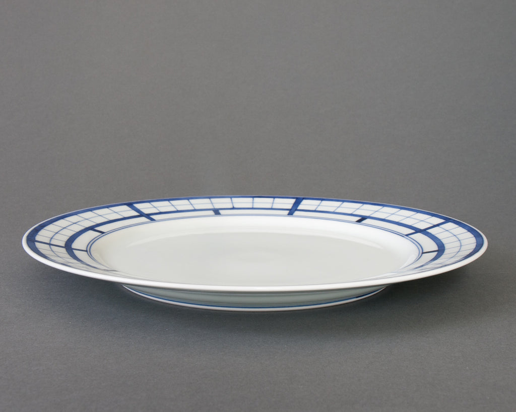Shoji pattern hand-painted dinner plate - straight