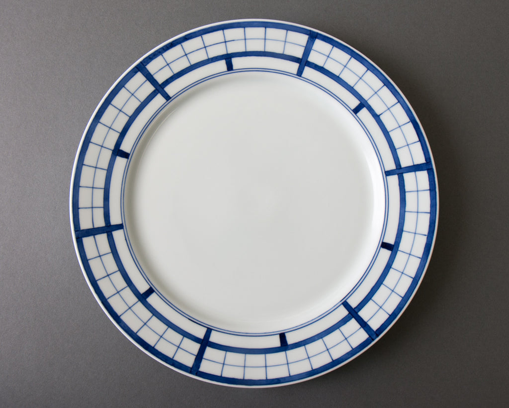 Shoji pattern hand-painted dinner plate - top