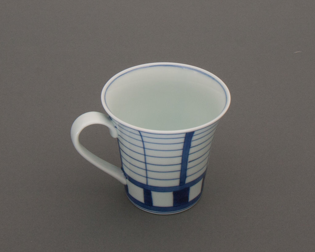 Shoji pattern hand-painted mug - side