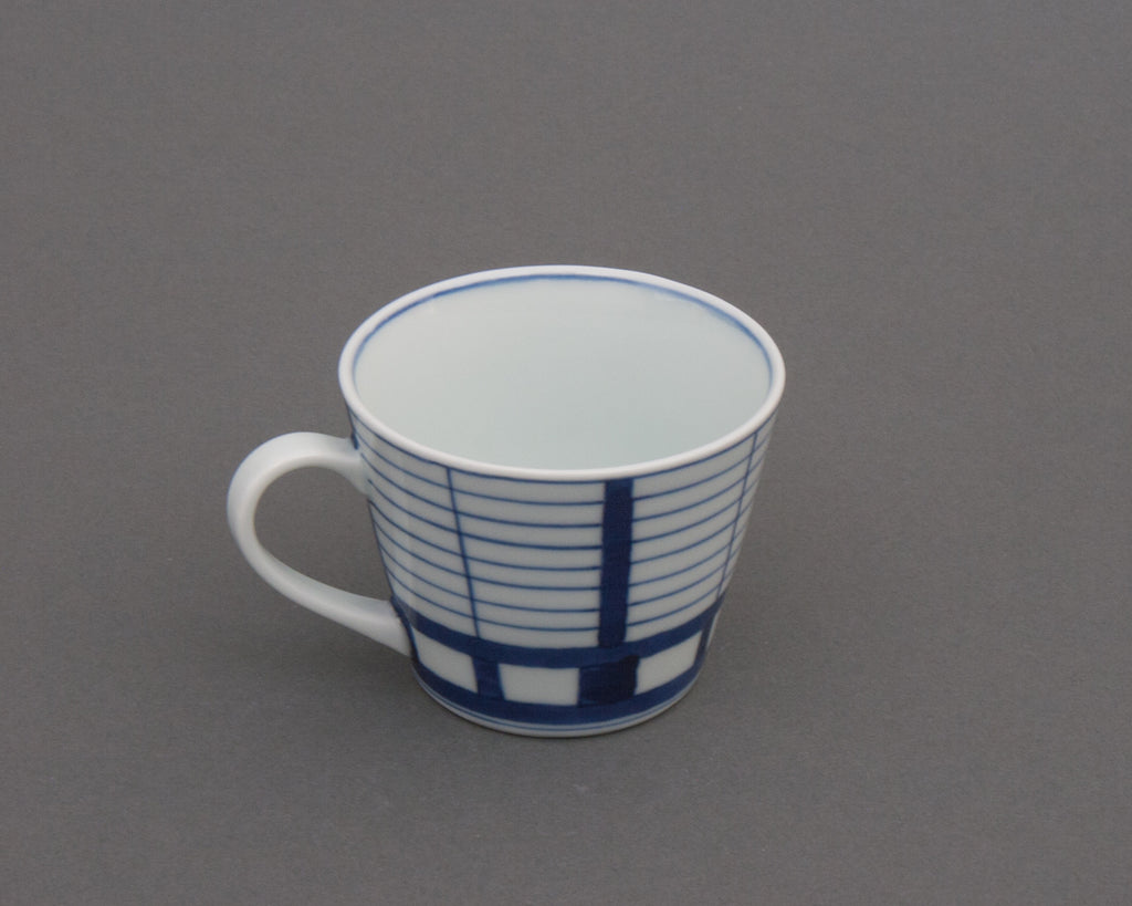 Shoji pattern hand-painted cup - side