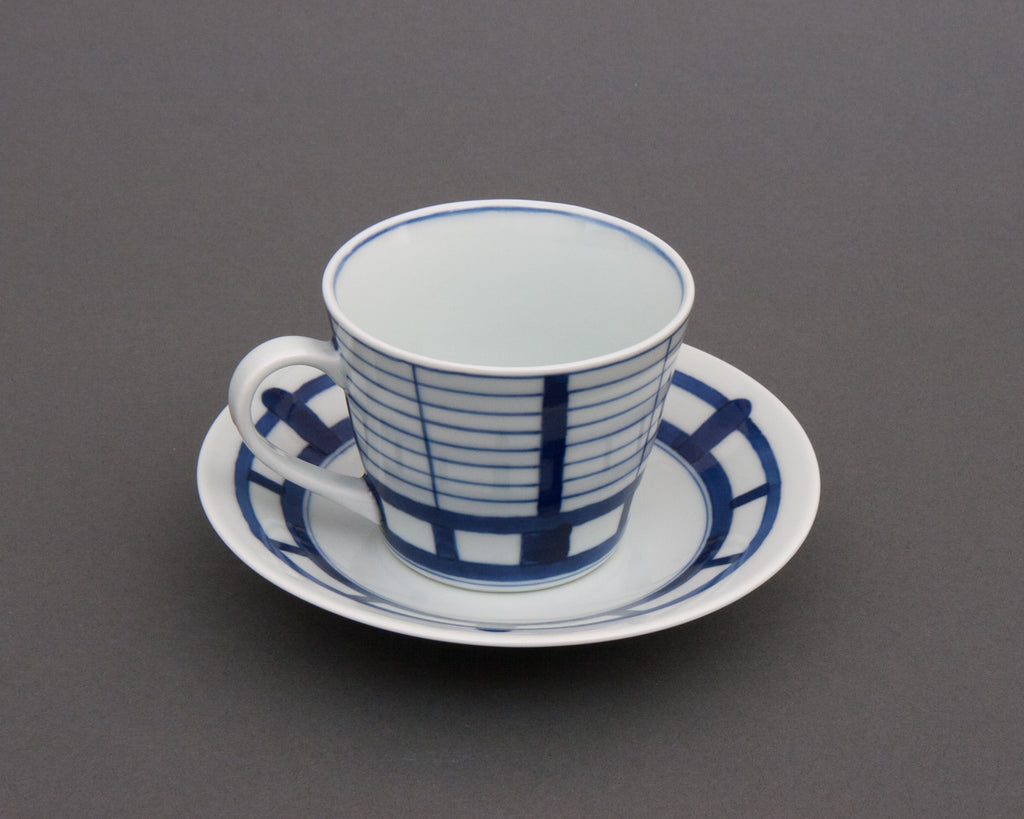 Shoji pattern hand-painted cup & saucer - side