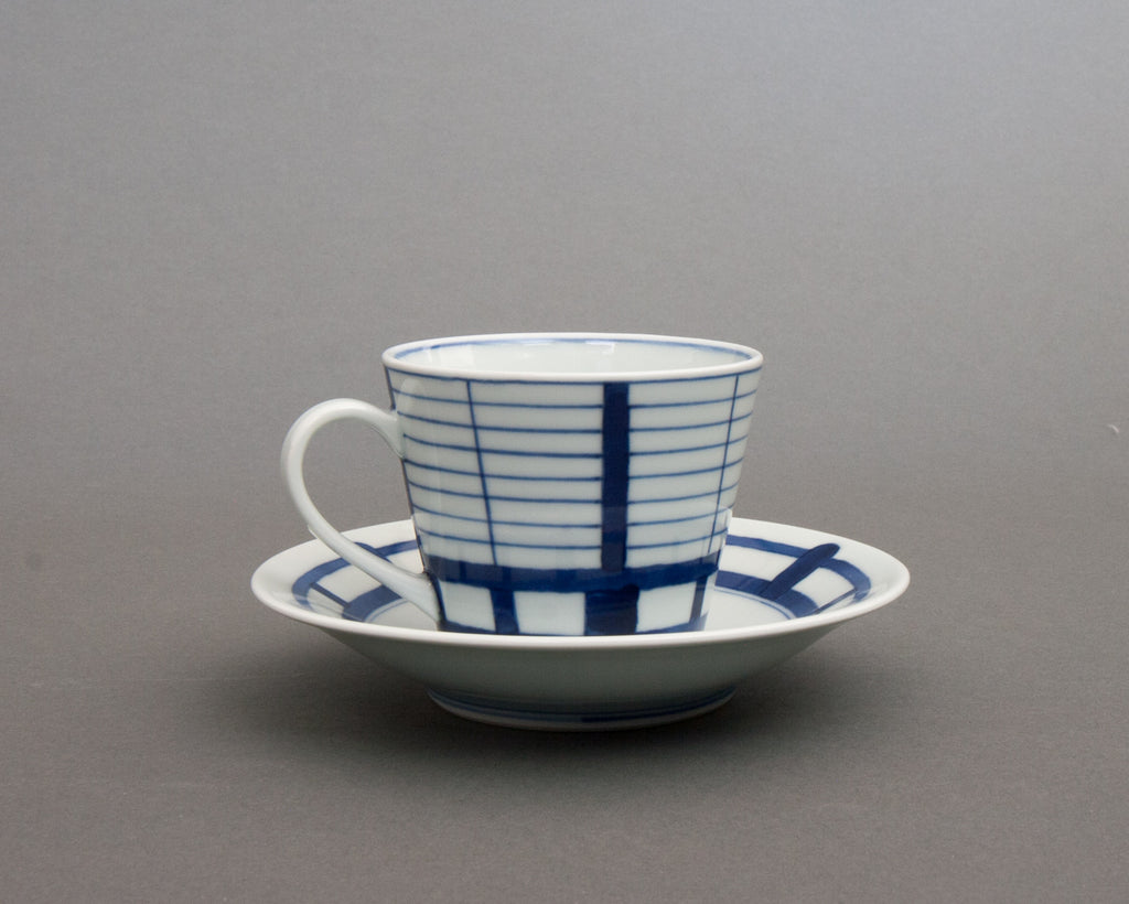 Shoji pattern hand-painted cup & saucer - straight