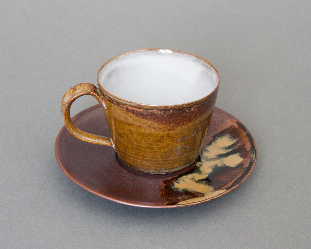 Takatori Saucer and Cup Handmade in Japan - Side